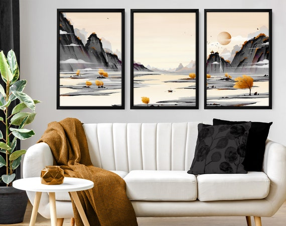 Calming Watercolor Painting Print, Set of 3 Minimalist Wall Prints, Zen Wall Art, Modern Artwork for Office Decor and Living Room