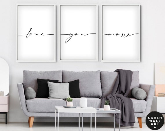 Love quote Print, Line Drawing, Above Bed Decor, Our First Home 3 Piece Wall Art, Minimalist Wall Decor, Gift for Couples New Home