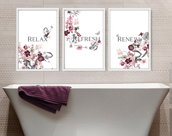 Tropical Bathroom, Aesthetic Spa Decoration, Quotes Prints, Botanical Prints Wall Art Set of 3, Guest Room Wall Decor, New Home Gift for mom
