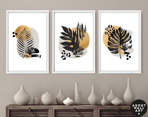 Gold Decor Home, wall decor living room Botanical boho art prints set of 2, office decor gift, New home gift, housewarming gift for daughter