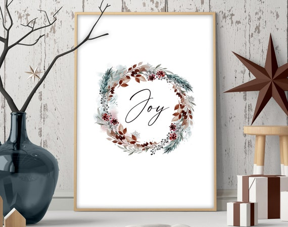 Cute christmas gift living room decor wall art for mom, Modern Christmas decorations for home, peace joy love Front door welcome wall art