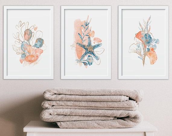 Seashell art print set of 3, beach nursery decor, Spa bathroom decor, Coastal decor beach house signs, coral bathroom wall decor, summer art