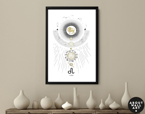 Zodiac art prints Leo gifts, Horoscope print personalised gift for sister, Leo Constellation, July August Birthday gift, Astrology