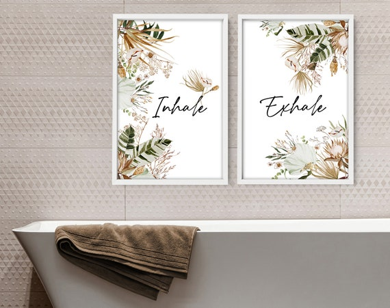 Tropical Bathroom, Aesthetic Spa Decoration, Quotes Prints, Botanical Prints Wall Art Set of 2, Guest Room Wall Decor, New Home Gift for mom