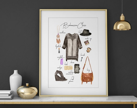 Fashion wall art print, Dressing room decor print, Boho Fashion illustration, Bohemian Decor Girls bedroom wall prints, Vanity room Decor,