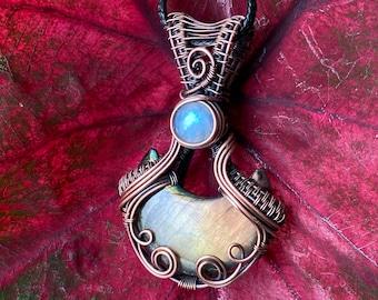 purple renaissance copper Victorian healing pink mystical vintage Medieval Charm with Sugilite unique rare handmade pendant necklace