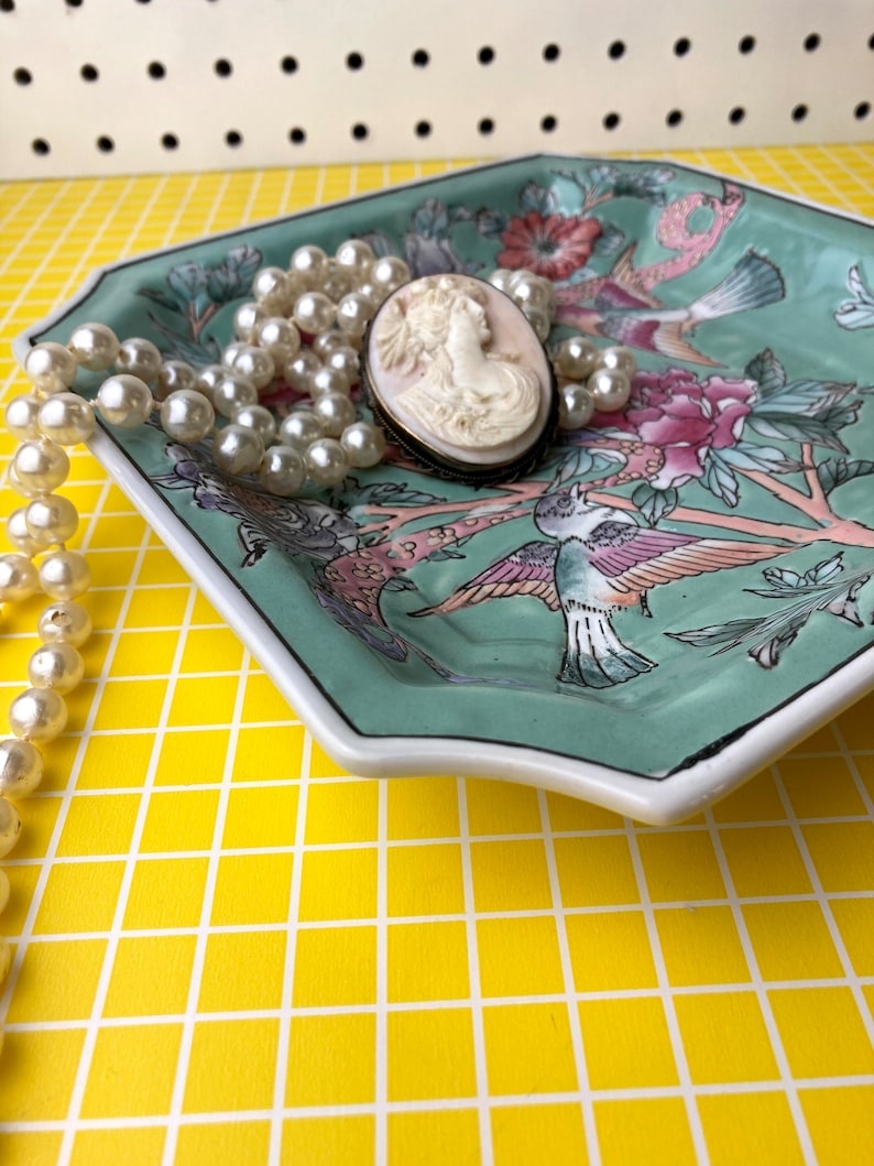 Vintage Chinese Hand Painted Square Bird Floral Plate