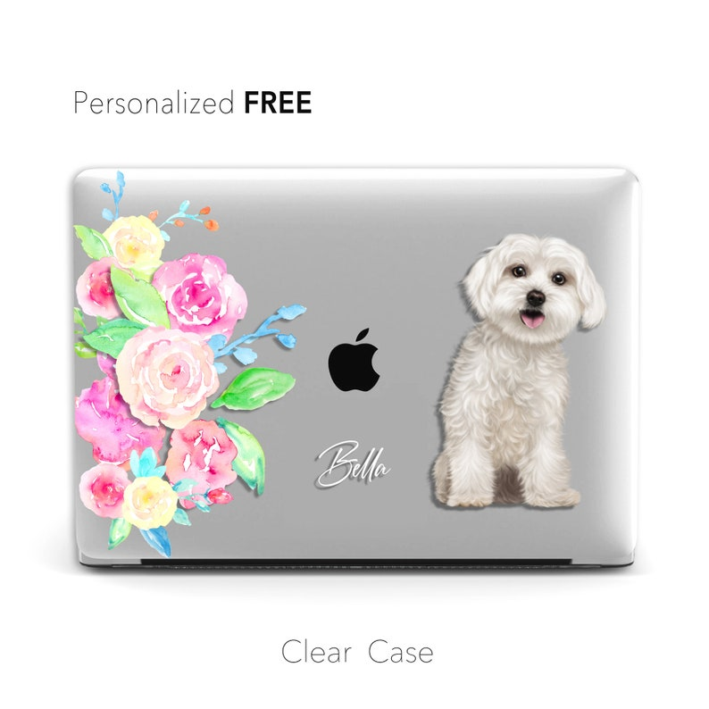 Dog Cat Portrait CLEAR CASE Pro 15 Pro 16 Realistic Personalised Pet Hand-illustrated Portrait Macbook Case Macbook Air 13 Pro 13 Case