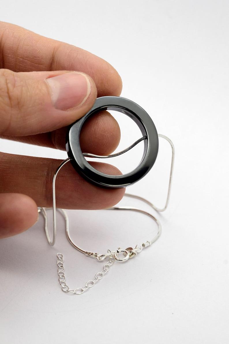 Glossy Metallic Pendant Geometric Hematite Necklace Hematite Ring Necklace Circle Pendant round Pendant