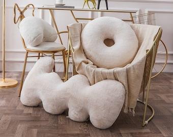 Velvet Decorative Throw Pillow, letter Pillow, rabbit Pillows, 3D Shaped cushion, Unique Throw Pillow, Ins abstract pillow , letter cushion
