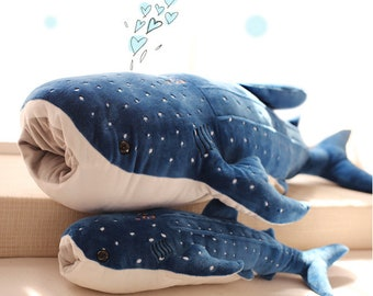 Giant Baleen Whale shark Plush Toy Big blue whale child pillow Large Blue Whale Stuffed Animal Giant Hugging Soft Pillow