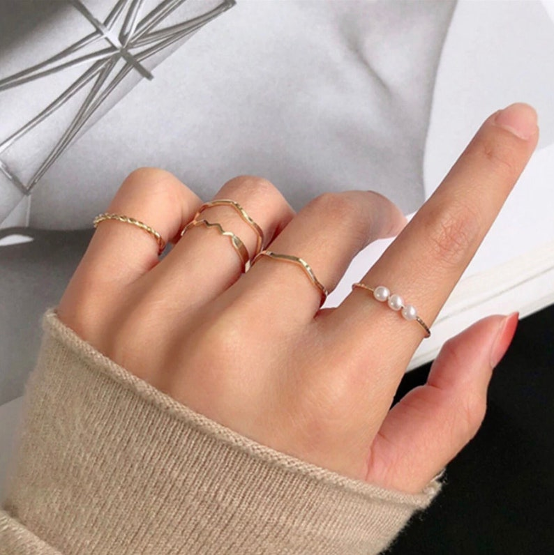 New Trendy Gold Round Rings Set For Women Women Ring Set Metal Circular Ring Charm Joint Stacking Ring Fashion Jewelry Gift