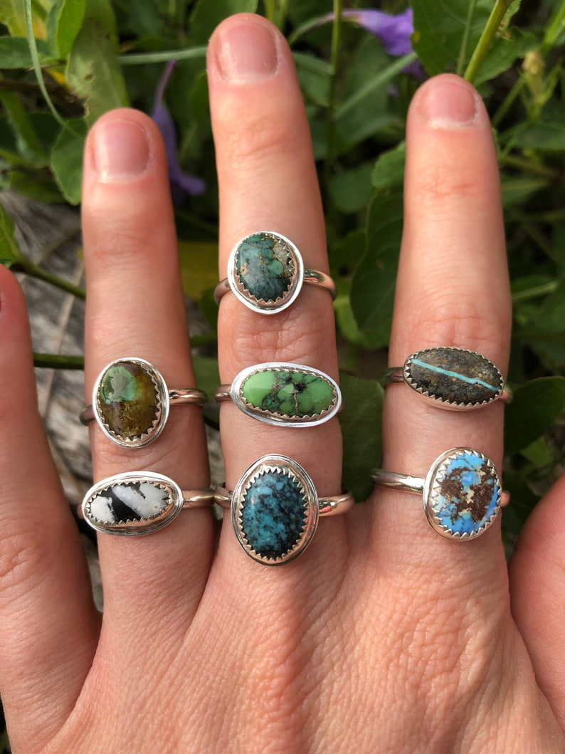 Turquoise and Silver Stacker Ring