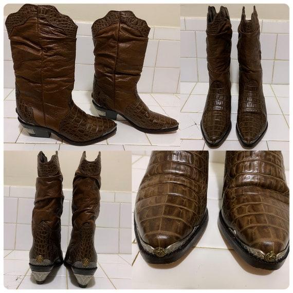 Vintage zodiac cowboy boots / womens cowboy boots