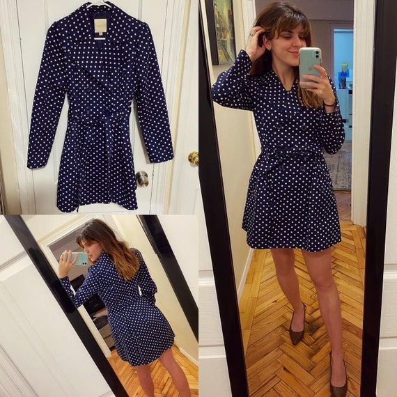 Vintage style small polka dot trench coat / small