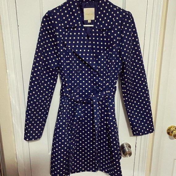 Vintage style small polka dot trench coat / small… - image 2