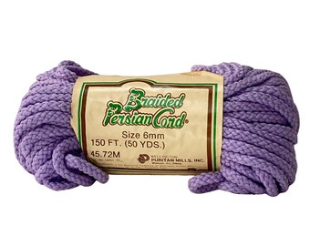 Purple 6mm / 50yd Vintage Braided Cord