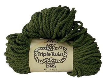 Green 5mm / 50yd Vintage, Triple Twist Cord