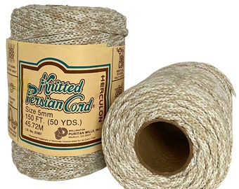 Oatmeal 5mm / 50yd Vintage Knitted Cord