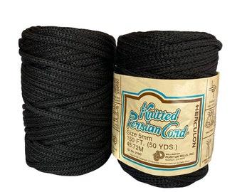 Black 5mm / 50yd Vintage Knitted Cord