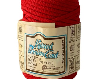 Red 5mm / 50yd Vintage Knitted Cord