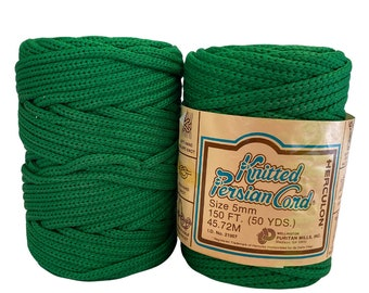 Kelly Green 5mm / 50yd Vintage Knitted Cord