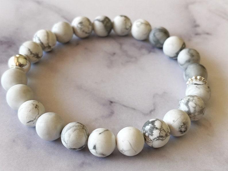 Zen Bracelet Howlite and Sterling Silver Healing Bracelet Howlite Bracelet