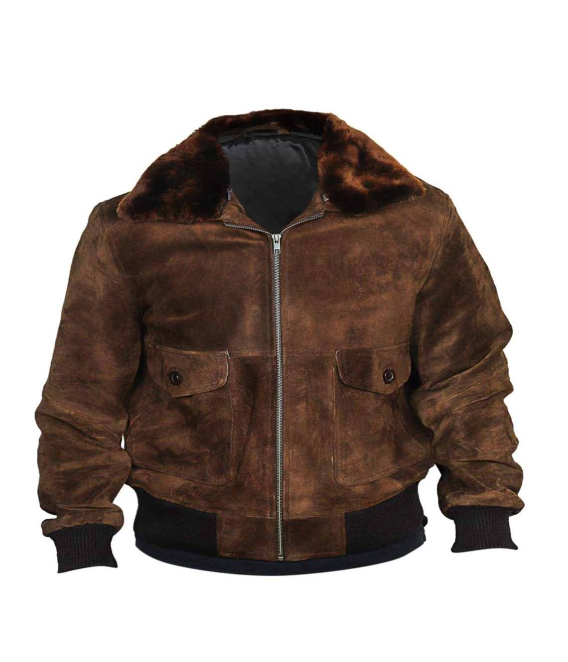 100% Genuine Leather Brown Suede American Eagle Bomber Jacket