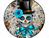 Sublimation design download, wreath center, door hanger, sign, day of the dead, Halloween, png file, jpeg file, printable