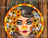 Halloween wreath center, door hanger, wall art, pillow design. Sublimation digital download printable png and jpeg files