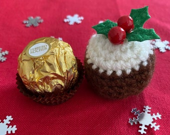 Set of 4 crocheted Christmas Pie Ferrero Rocher Cover  Ferrero rocher cover Christmas pie ferrero rocher favour ferrero rocher