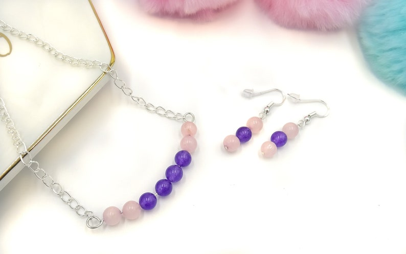 wedding jewellery First Communion jewellery 925 sterling silver hook earrings chain necklace Gemstone beads womens jewellery set