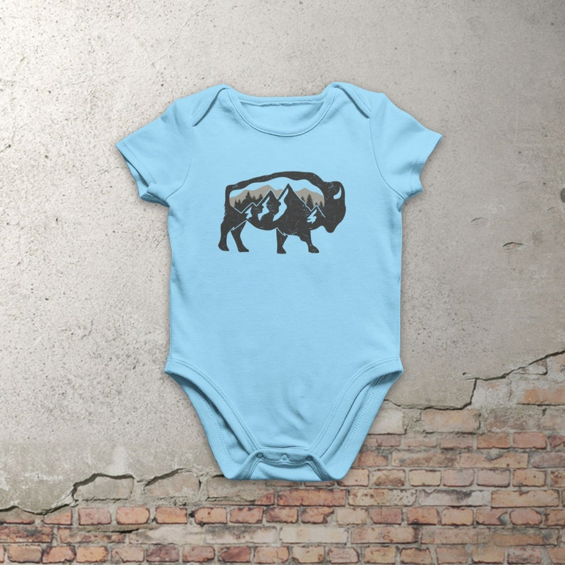 Bison /& Mountains Organic Cotton Baby Romper Wildlife Outdoors Organic Infant Bodysuit