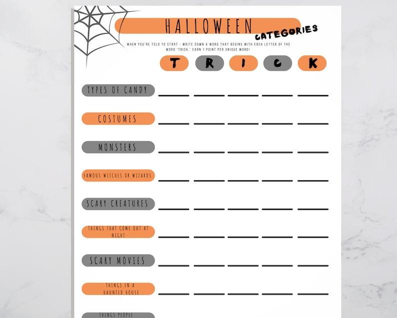 Halloween Categories Printable Game Icebreaker Activity for image 0