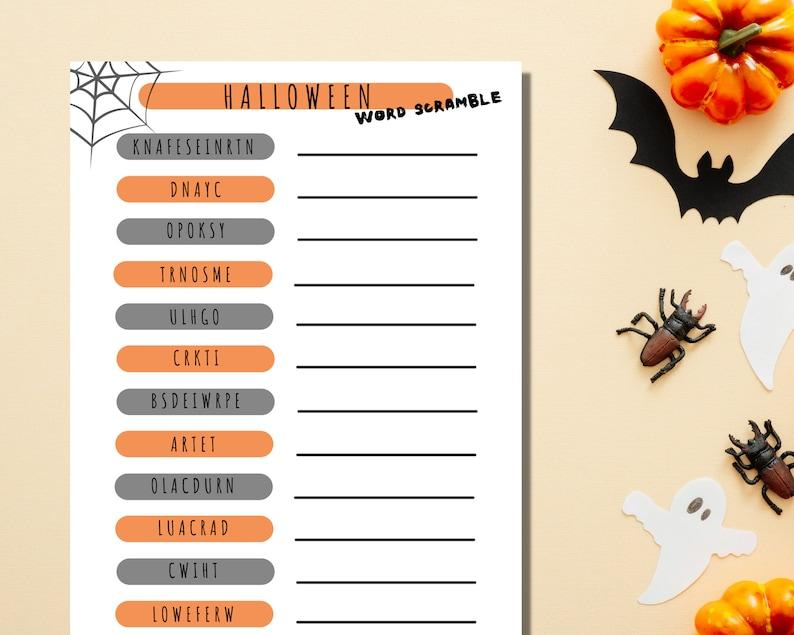 Halloween Word Scramble Printable Game Icebreaker Activity image 0