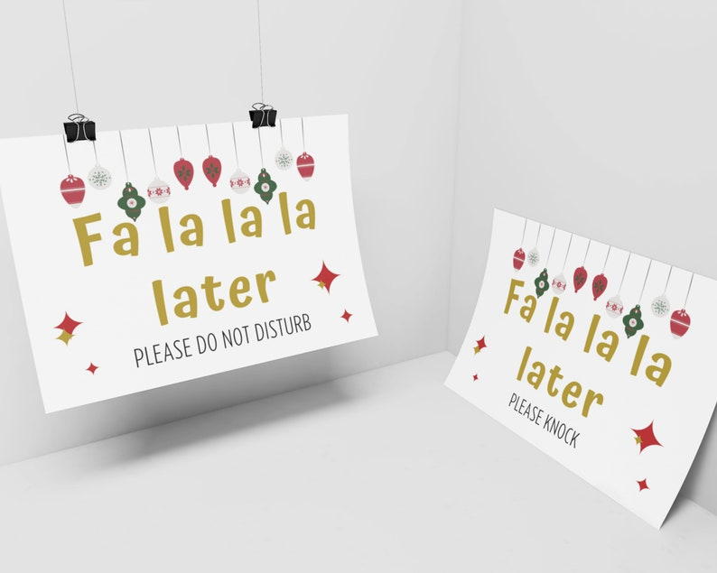 Fa La La Christmas Office Decor  XMas Do Not Disturb  image 0