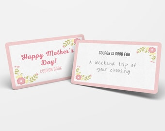 Mother's Day Coupon Printable, Mothers Day Gift from Daughter Personalize, Editable Coupon Book Printable, Voucher Gift for Mom from Son