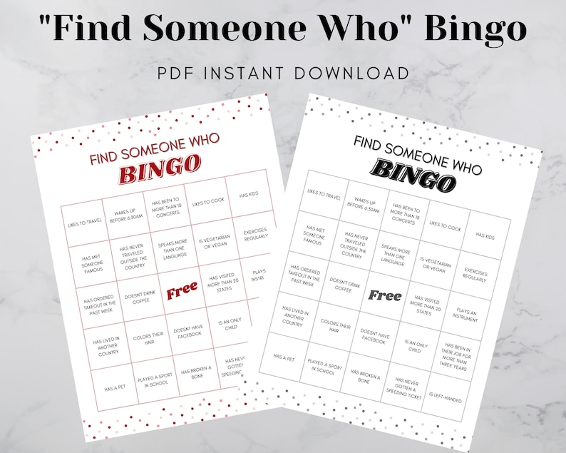 Find Someone Who Ice Breaker Bingo  Find the Guest Game image 0