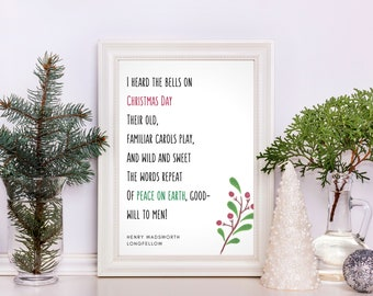 Bells on Christmas Day Wall Art | Christmas Printable Quote | Peace on Earth | Literature Art | Literary Gift | Henry Wadsworth Longfellow