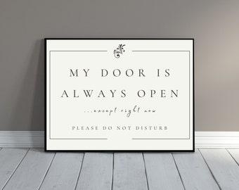My Door is Always Open Home Office Decor for Men, Virtual Meeting in Progress Office Door Sign Do Not Disturb Sign door hanger printable