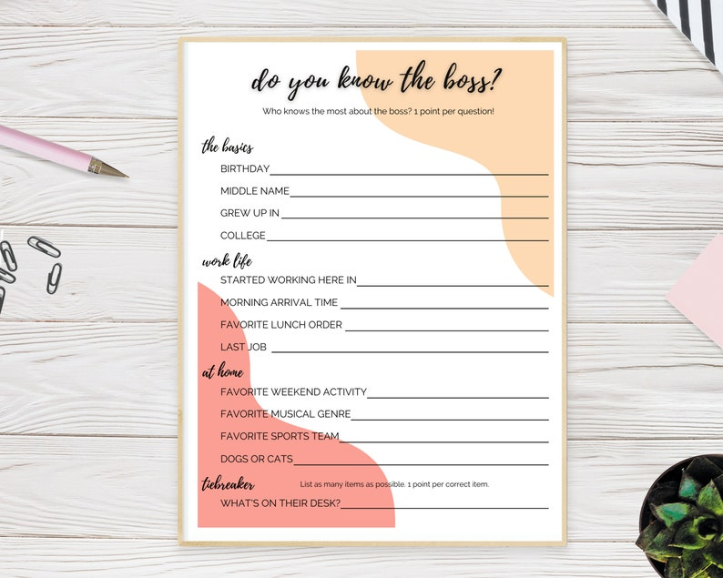 Who Knows the Boss Printable Game  Virtual Work Happy Hour image 0