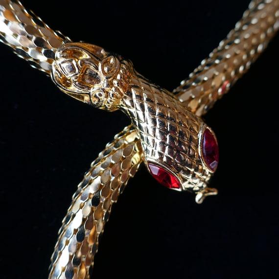 Vintage Goldtone Mesh Snake Necklace