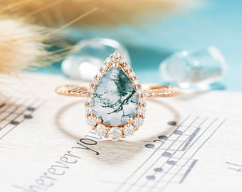 Moss Agate Engagement ring Unique Engagement ring Vintage Engagement ring Pear shaped gift for her Halo Diamond Moissanite Rose gold ring