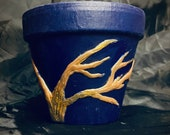 Terra-cotta medium size planter hand made unique sculpture decorated with gold tree, Borrowing from Greek style 10cm pot Valentine's Day gif