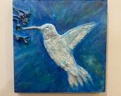 wall hanging | home decor | wall art 10x10 inch - 25.4 cm 25.4cm Hummingbird in flight | Hand made relief sculpture