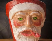 Santa Claus as a Gruff working man. Terra-cotta medium size planter hand made unique sculpture