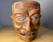uglymug creepy face | Ceramic mug sculpture one of a kind art for home decor, collectable Unique artwork made by hand | halloween style