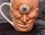 Ceramic mug sculpture one of a kind art for home decor, collectable Unique artwork made by hand happy Cyclops, Oddity