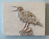 Meadowlark on stump | Hand made relief Sculpture on Wood wall hanging home decor wall art 10x8 inch | 25.4 cm x 20.22cm wall decor