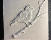 Bird on branch |  Relief Sculpture on Wood wall | hanging home decor wall | art 10x10 inch | 25.4 cm 25.4cm wall decor Hand made